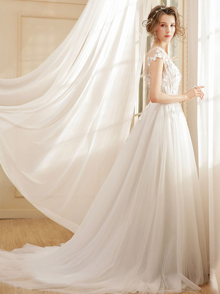 Milanoo Beach Wedding Dress Bohemian Maxi Bridal Dresses Ivory Flowers Applique Illusion Open Back Summer Wedding Gowns