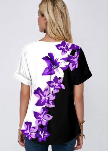 Split Neck Short Sleeve Floral Print Blouse - XL