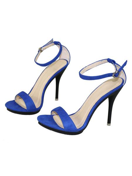 Milanoo High Heels Sandals Womens Red Open Toe Ankle Strap Stiletto Heels Sandals