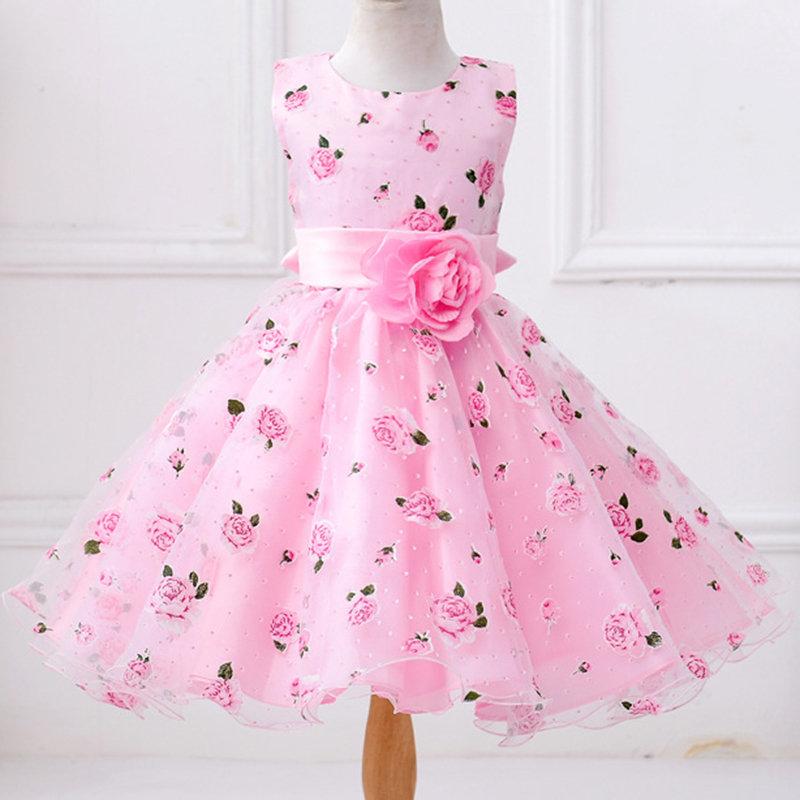 Flower Girls Dresses Kids Sleeveless Princess Dress For 3Y-11Y