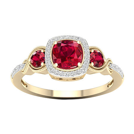 Womens 1/10 CT. T.W. Lead Glass-Filled Red Ruby 10K Gold Engagement Ring, 8 1/2 , No Color Family
