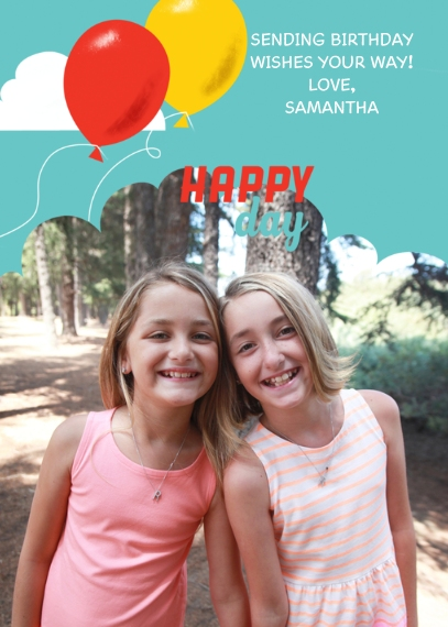 Kids Birthday Greeting Cards 5x7 Folded Cards, Premium Cardstock 120lb, Card & Stationery -Happy Day Balloons