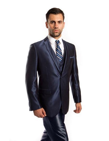 Men's Silky Shiny Navy 2 Button Single 3 Piece Suit Slim Fit Suit