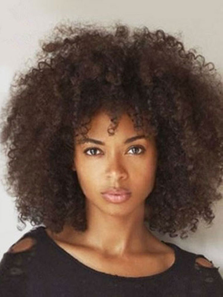 Milanoo Lace Front Wigs Synthetic Wigs Deep Brown Afro Hair Heat-resistant Fiber Medium Wig For Women