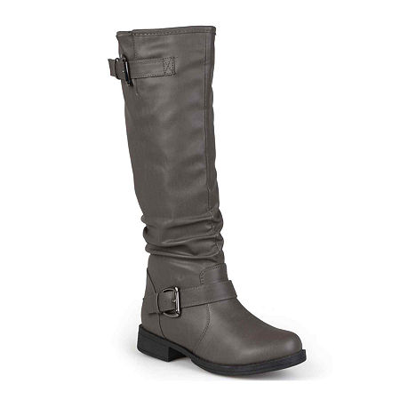 Journee Collection Womens Stormy Buckle-Accented Riding Boots, 6 Medium, Gray