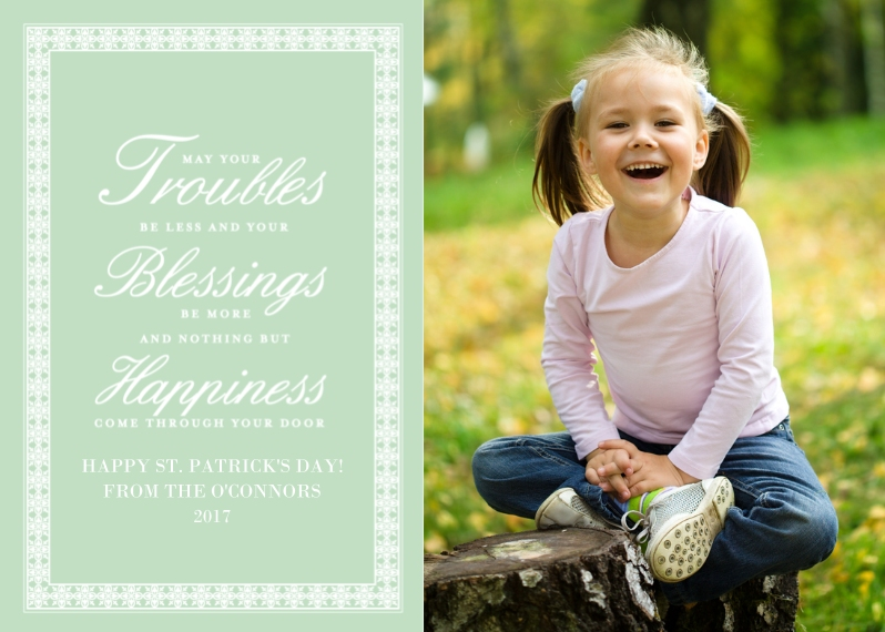 St. Patrick's Day Cards 5x7 Folded Cards, Premium Cardstock 120lb, Card & Stationery -Irish Blessing ?C Folded