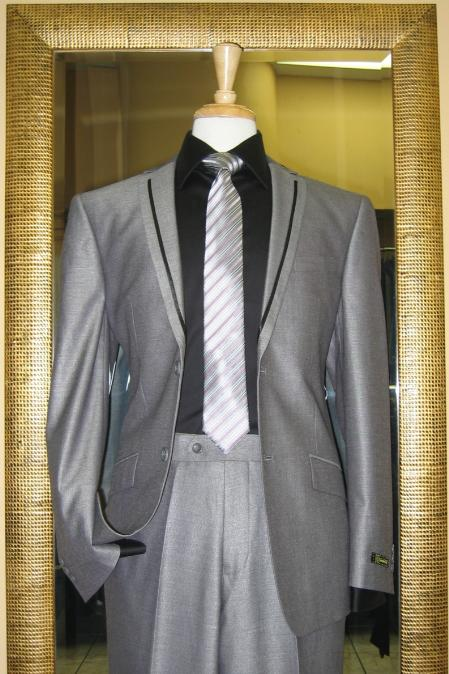 2 Button Silver Slim Fit Suit with Taping on the Lapels