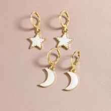 2pairs Moon Charm Drop Earrings
