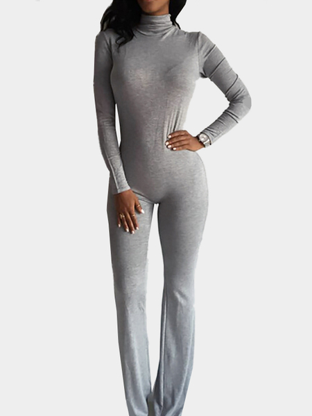 Yoins Long Sleeves Bodycon Jumpsuit with Back Zippper Design in Light Grey