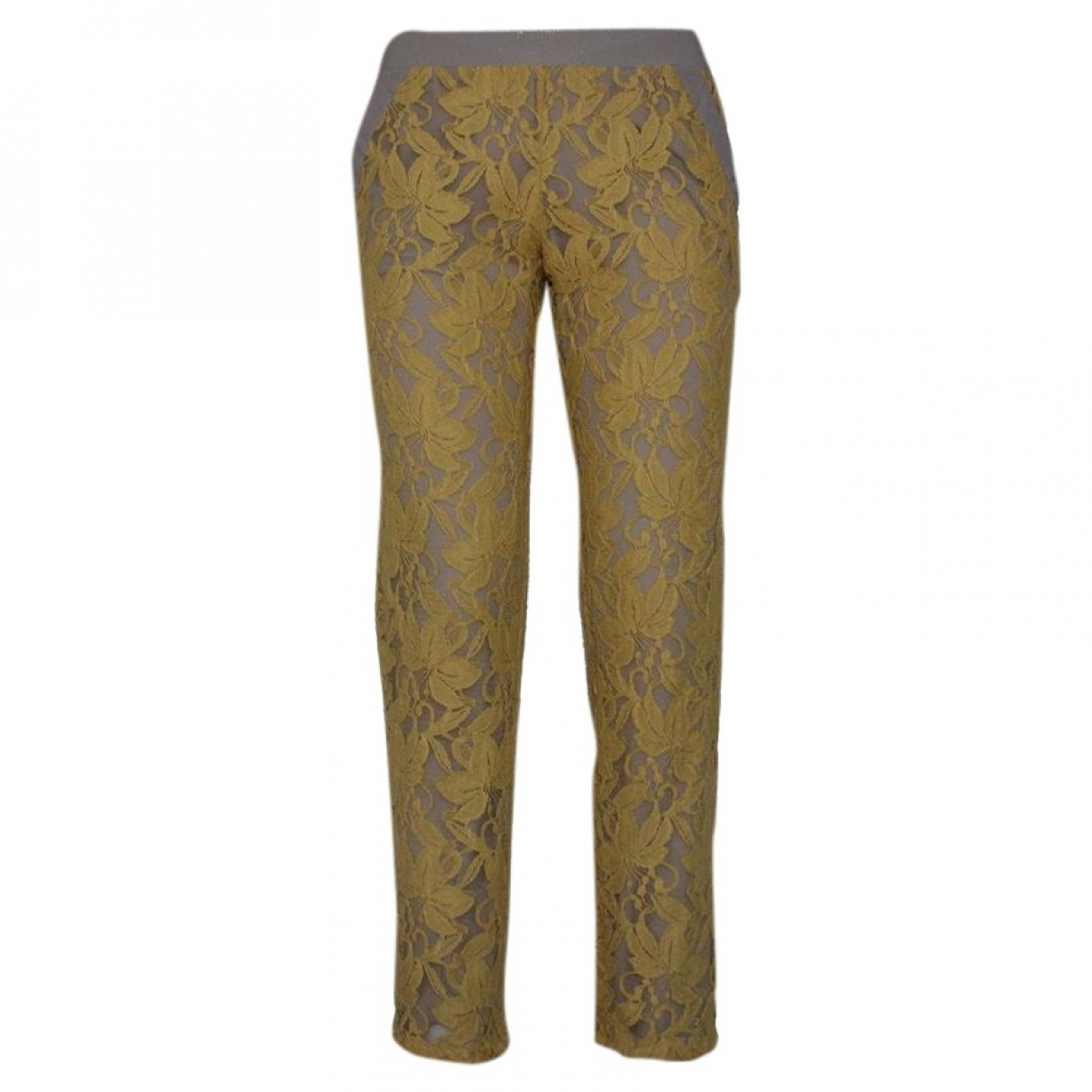 Non Signé / Unsigned \N Yellow Cotton Trousers for Women 42 IT