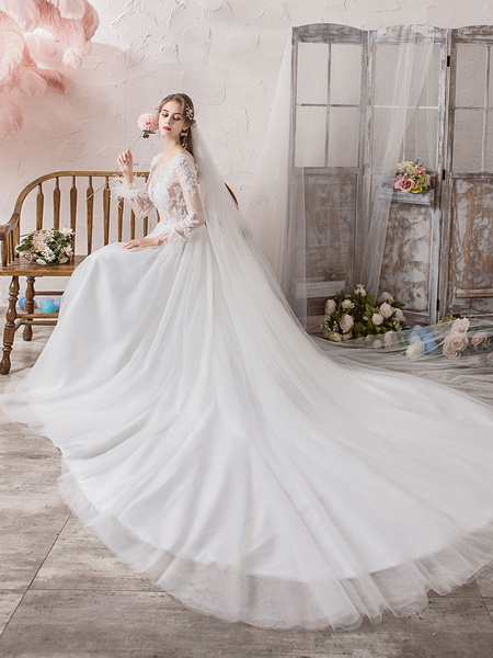 Milanoo Wedding Dresses Long Sleeve Feathers Jewel Neck Bridal Gowns With Cathedral Train