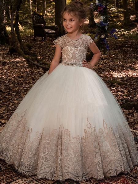 Milanoo Flower Girl Dresses Jewel Neck Short Sleeves Lace Kids Princess Dresses