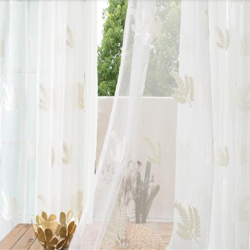 Concise and Pastoral Style Solid White with Leaves Custom Living Room Sheer Curtain