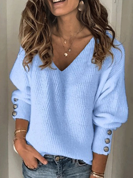 Milanoo Pullovers For Women V-Neck Long Sleeve Button Detail Sweaters