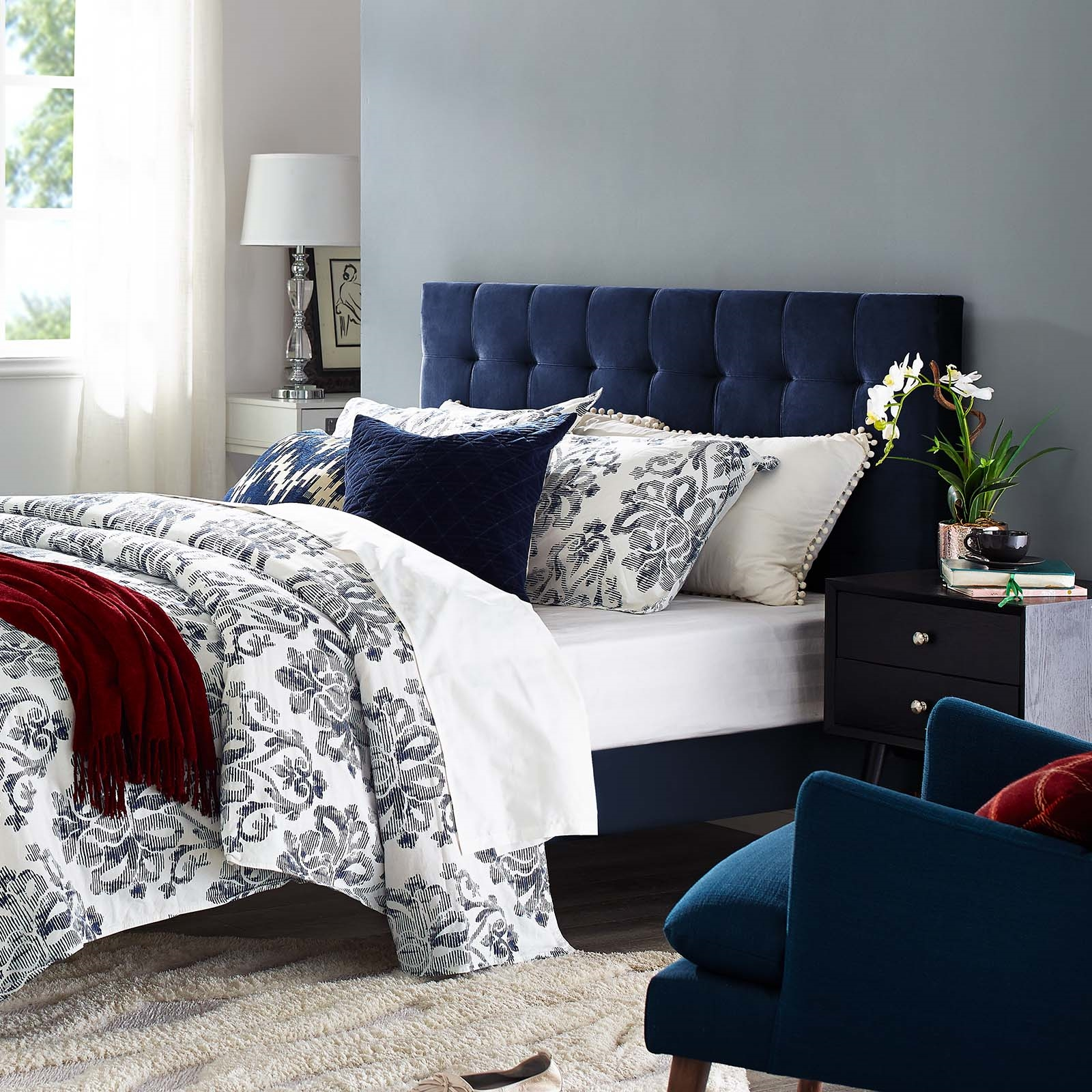 Paisley Tufted Twin Upholstered Performance Velvet Headboard in Midnight Blue