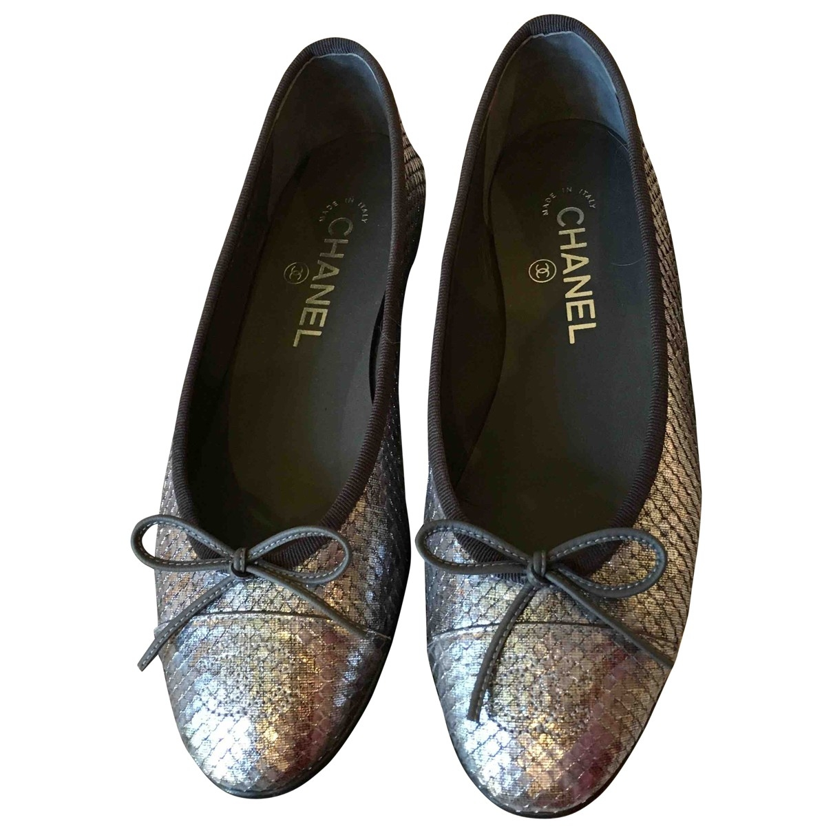 Chanel \N Silver Python Ballet flats for Women 37 EU