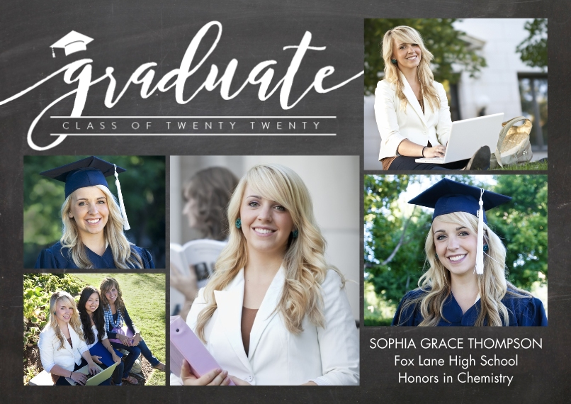 2020 Graduation Announcements 5x7 Cards, Premium Cardstock 120lb with Rounded Corners, Card & Stationery -Graduate Twenty Twenty by Tumbalina