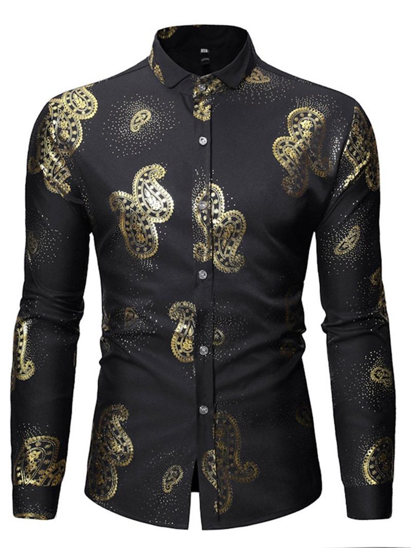 Ericdress Lapel Print Casual Slim Mens Shirt