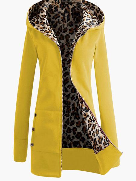Milanoo Fleece Women Hoodie Red Sport Jacket Leopard Zippered Winter Coat