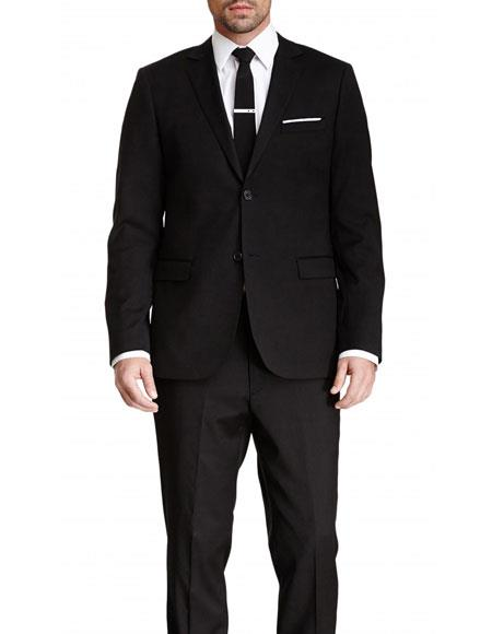 Mens Black Slim Fit 2 Buttons Pinstriped Wool Suit