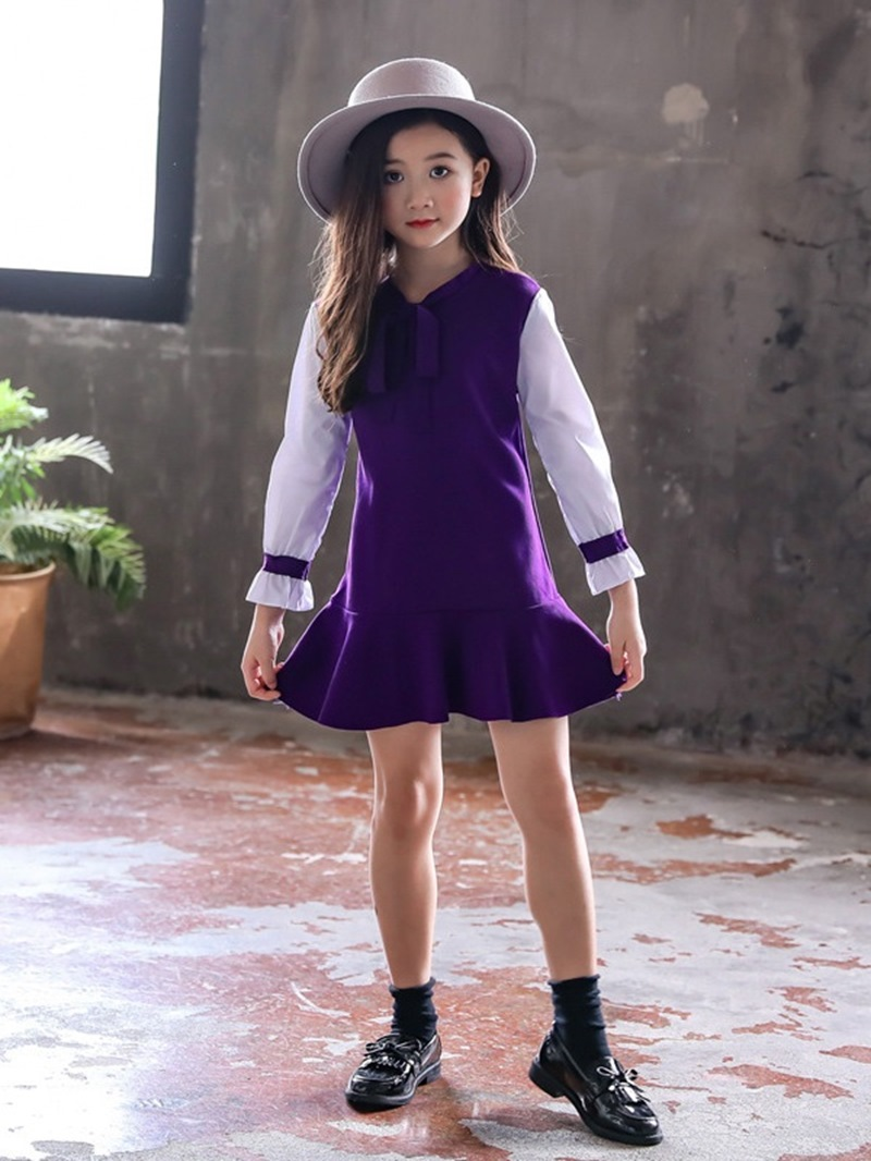 Ericdress Ruffles Bowknot Girl's Dress