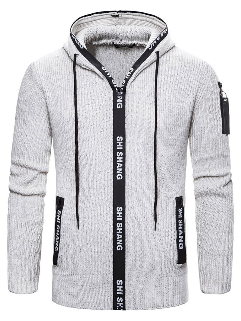 Ericdress Pocket Standard Hooded Zipper Men's Slim Sweater