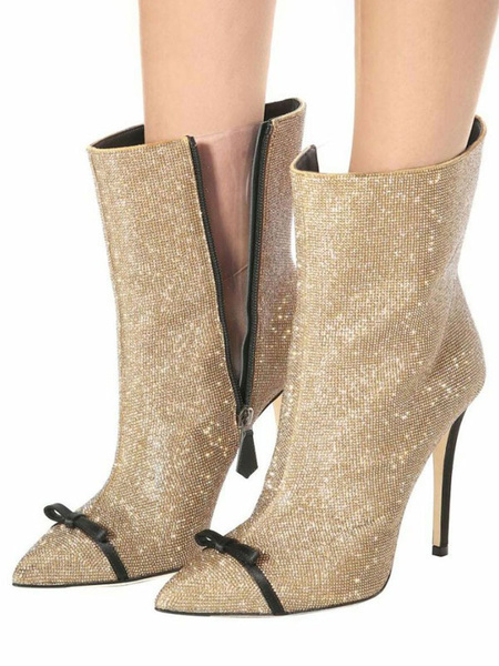 Milanoo Women Ankle Boots Light Gold Sequined Cloth Bows Pointed Toe Stiletto Heel Booties