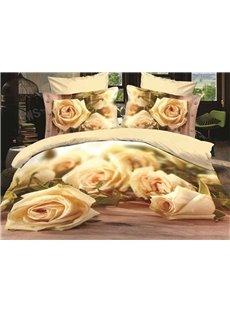 3D White Rose Printed Cotton 4-Piece Bedding Sets/Duvet Covers