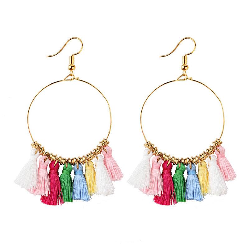 Bohemian Sector Shape Tassel Pendant Big Hoop Earrings Statement Dangle Earrings for Women