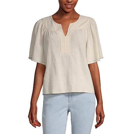 a.n.a-Tall Womens Yoke Detail Flutter Sleeve T-Shirt, Xx-large Tall , Beige