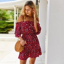 Allover Print Flounce Sleeve Bardot Dress