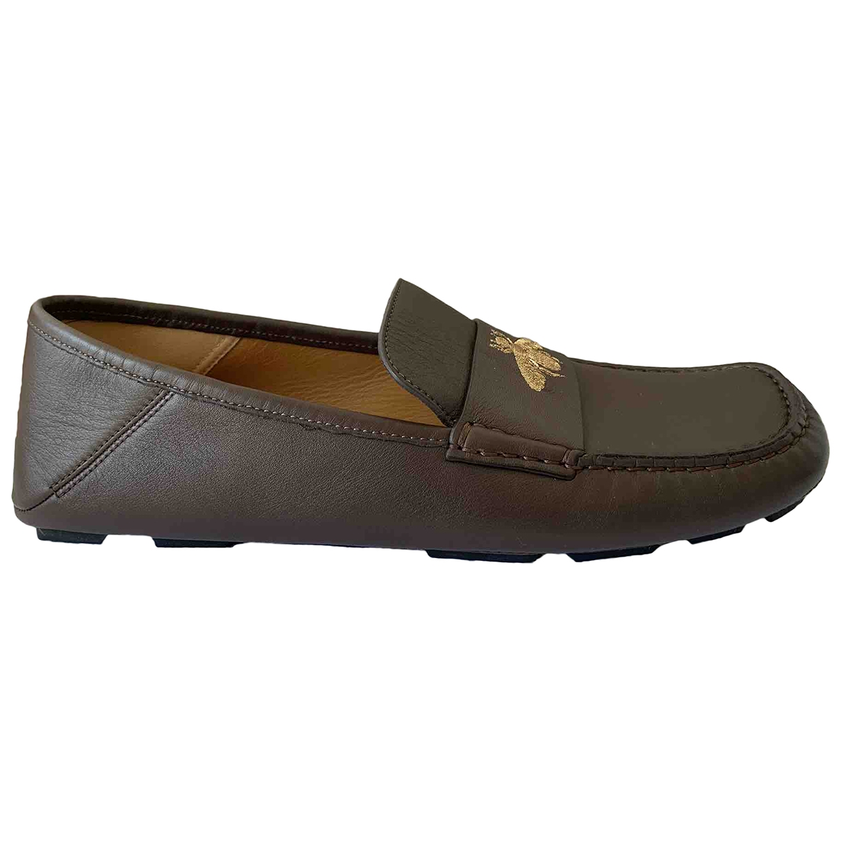 Gucci \N Brown Leather Flats for Men 42.5 EU