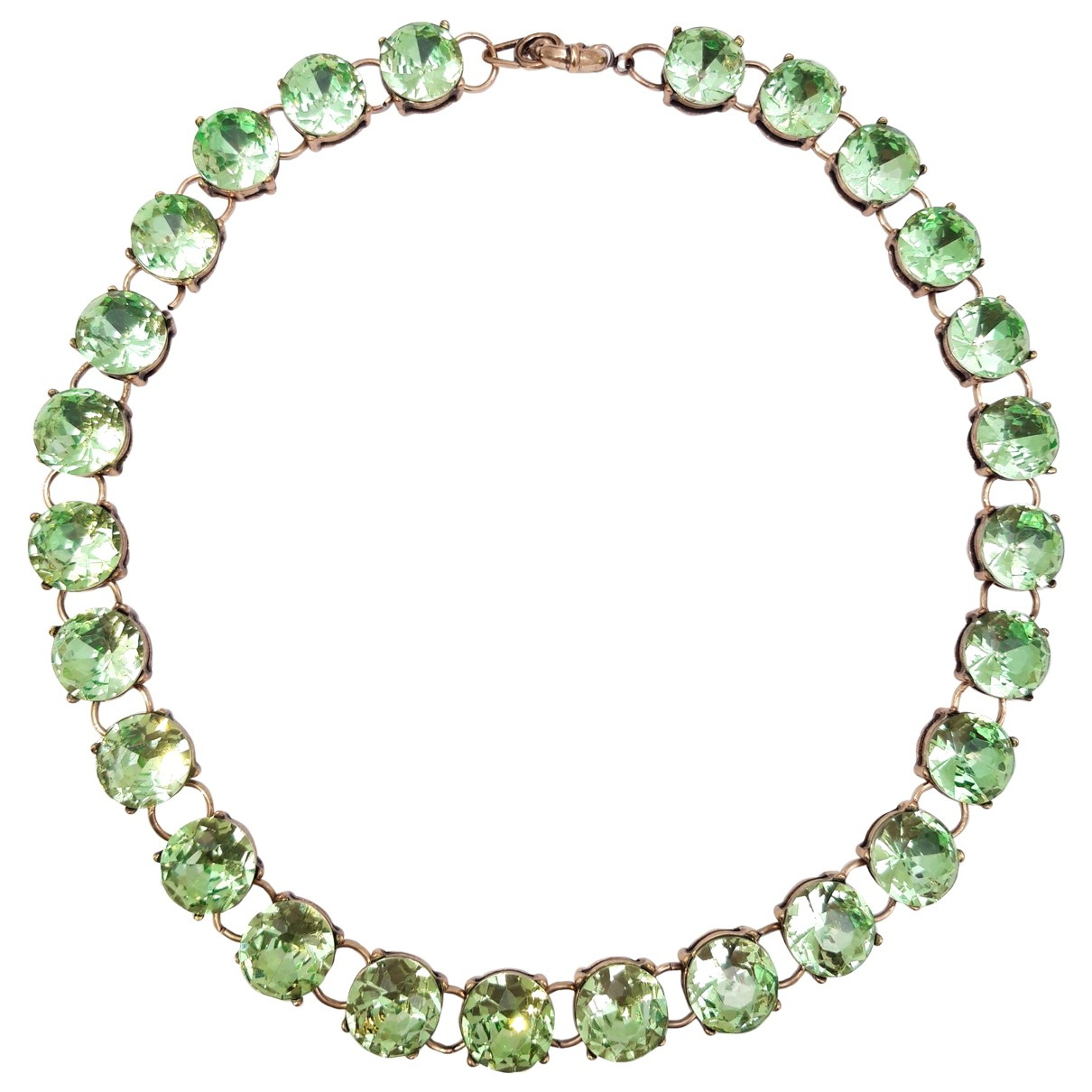 Non Signé / Unsigned Art Déco Green Crystal necklace for Women \N