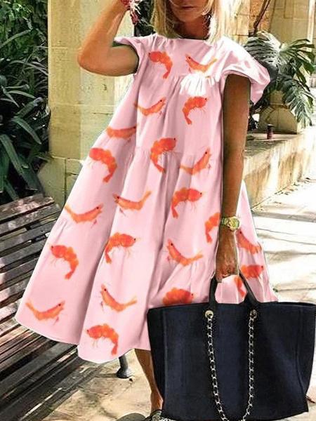 Milanoo Shift Dress Rose Jewel Neck Polyester Layered Floral Print Fantastic Midi Dress