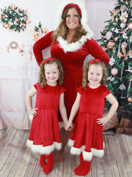 Milanoo Family Christmas Pajamas Santa Clause Furry Red Costume Dress