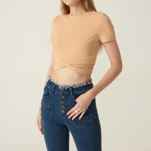 COTTON-MIX FITTED CUTOUT CROP TEE