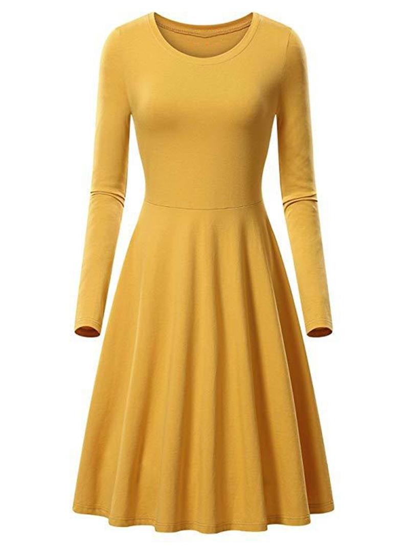 Ericdress A-Line Long Sleeve Mid-Calf Round Neck High Waist Regular Dress