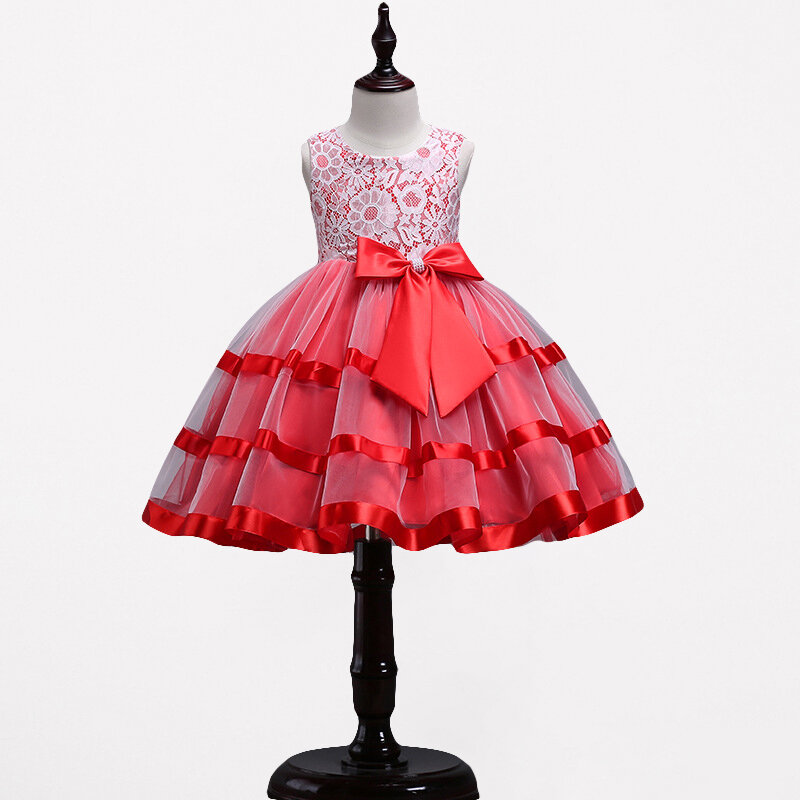 Lace Flower Girls Kids Sleeveless Formal Dresses For 4Y-15Y