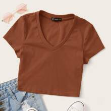 V-neck Rib-knit Fitted Crop Tee