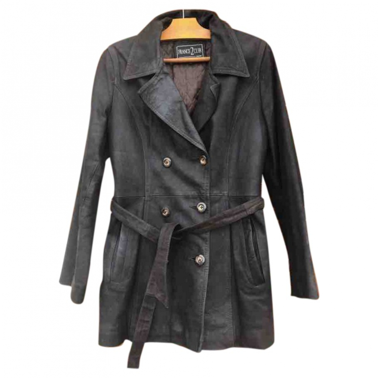 Non Signé / Unsigned \N Black Leather coat for Women 38 FR
