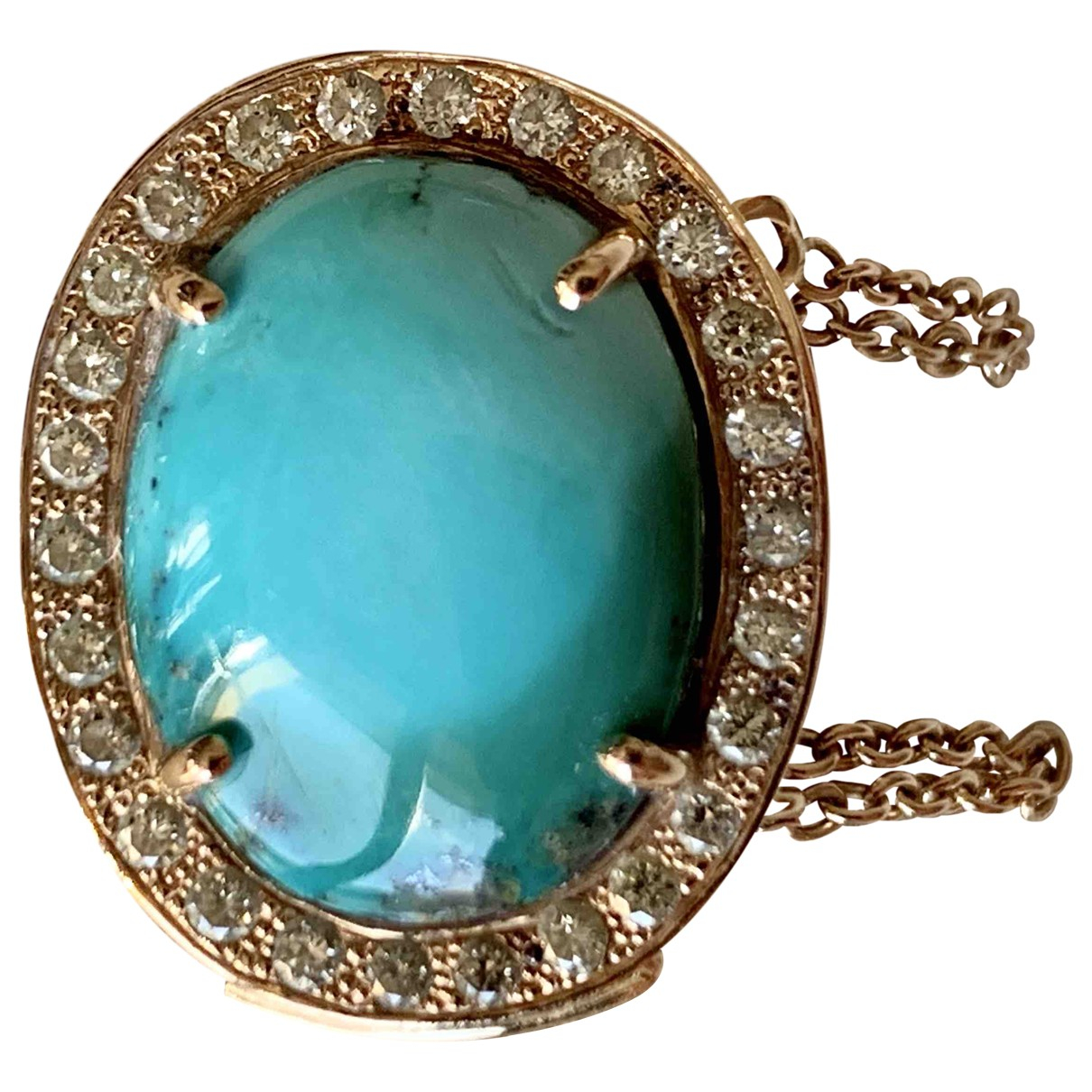 Non Signé / Unsigned Turquoises Turquoise Yellow gold ring for Women 50 EU