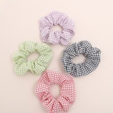 4pcs Plaid Pattern Scrunchie