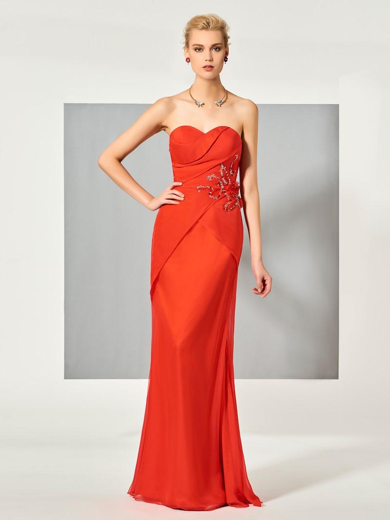 Ericdress Sheath Sweetheart Beaded Pleats Floor Length Evening Dress