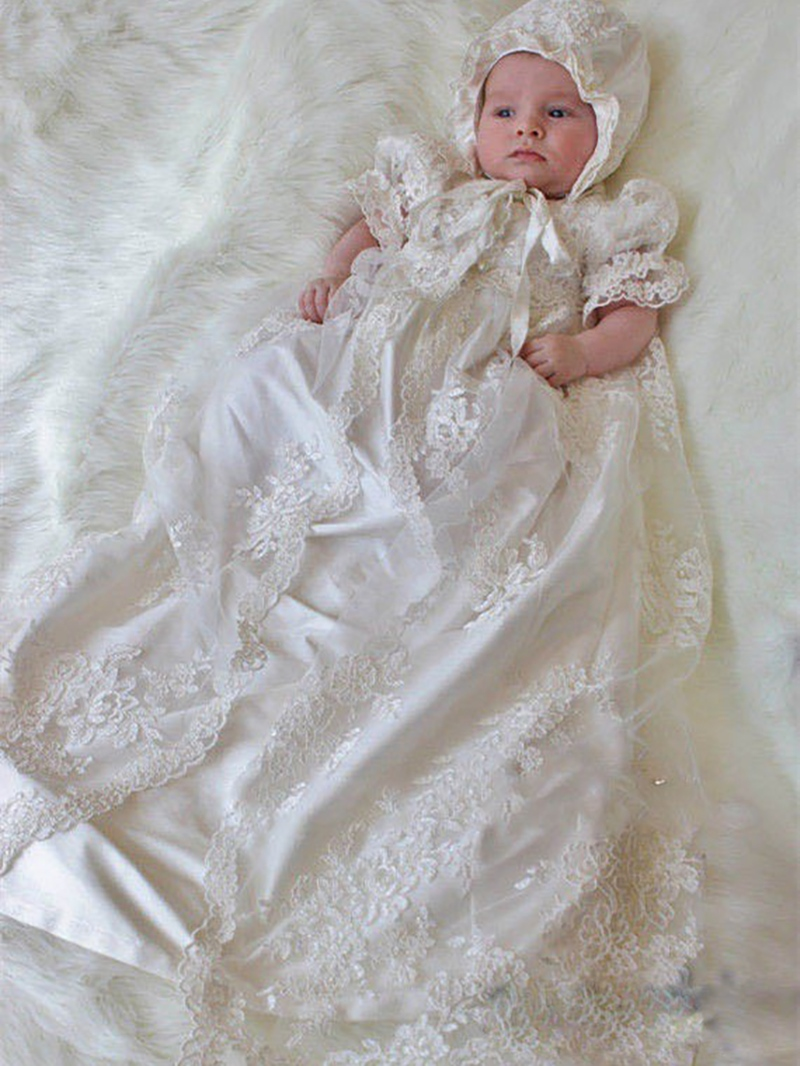 Ericdress 2 Pieces Lace Bonnet Baby Girl's Christening Gown