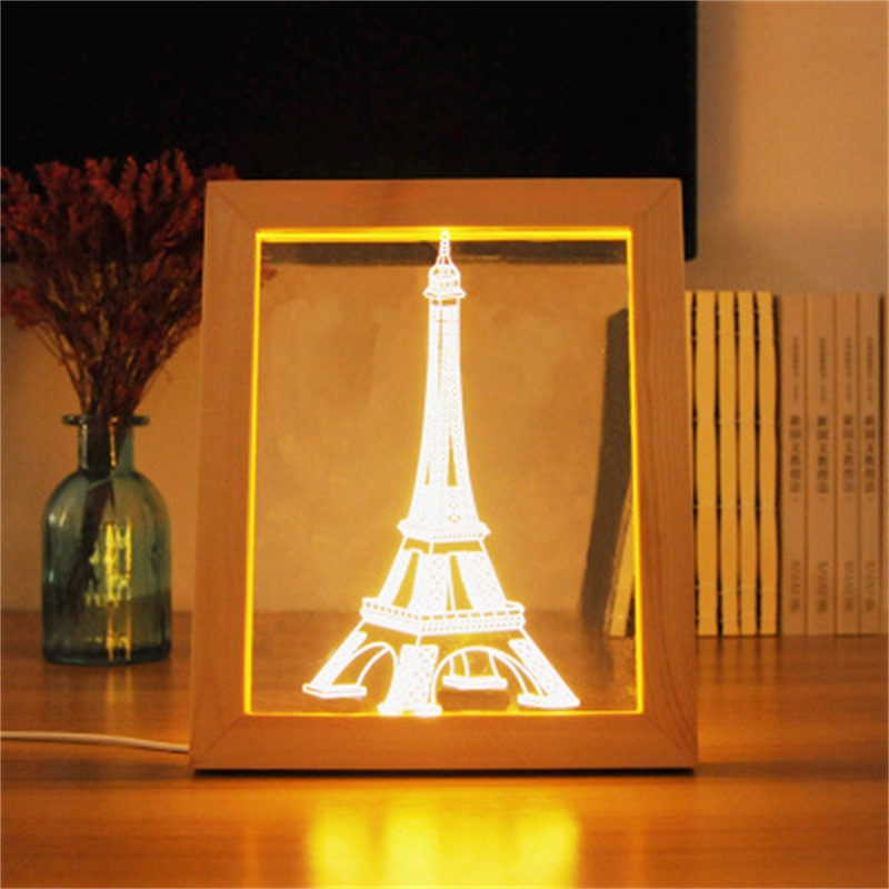 Modern and Creative 3D Pine Frame Tower Birthday Gift USB Plug LED Night Light