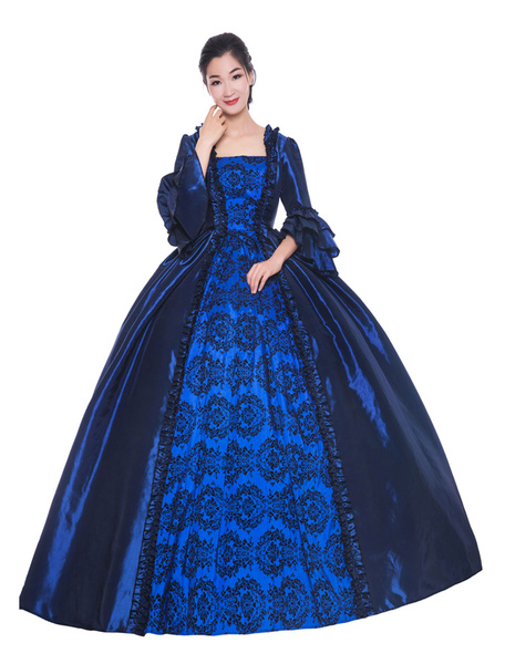 Milanoo Victorian Dress Costume Women's Deep Blue Ruffle Bows Short Sleeves Round Neckline Ball Gown Victorian Era Style Vintage Clothing Halloween