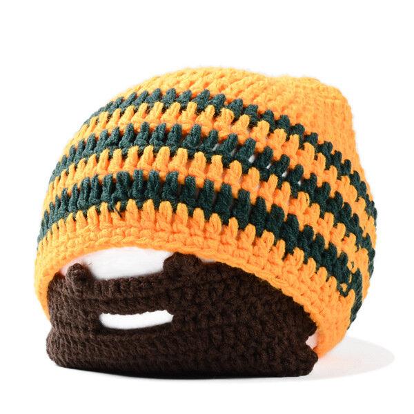Winter Knitted Helmet Beanies Bat For Halloween With Wig Beard Wacky Bearded Ski Face Mask