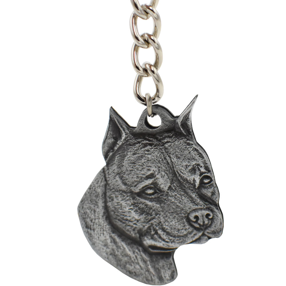 Dog Breed Keychain USA Pewter - American Staffordshire Terrier (2.5