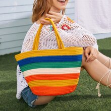 Colorblock Braided Tote Bag