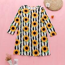 Girls Sunflower And Striped Tee Dress